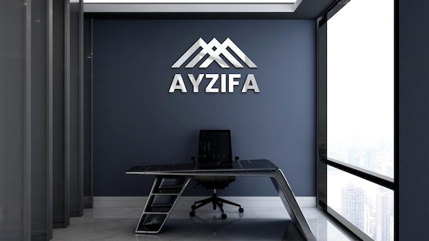 Mockup di logo 3d nella stanza del gestore dell'ufficio