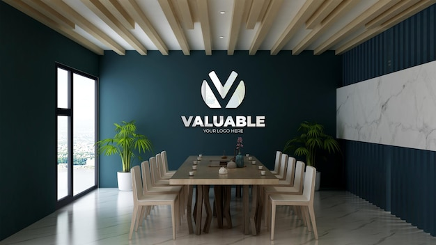 Modello di logo 3d nella sala riunioni dell'ufficio con parete blu