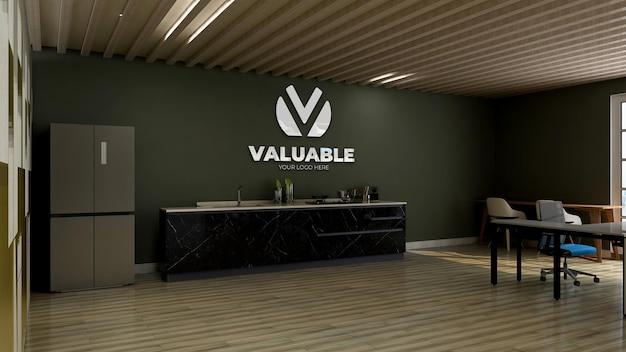 Modello di logo 3d nella dispensa dell'ufficio con parete verde Psd Premium