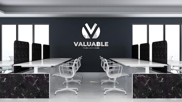 Modello di logo 3d nell'area di lavoro dell'ufficio