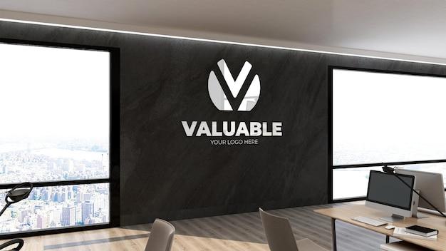 Mockup di logo 3d nel posto di lavoro di wall office