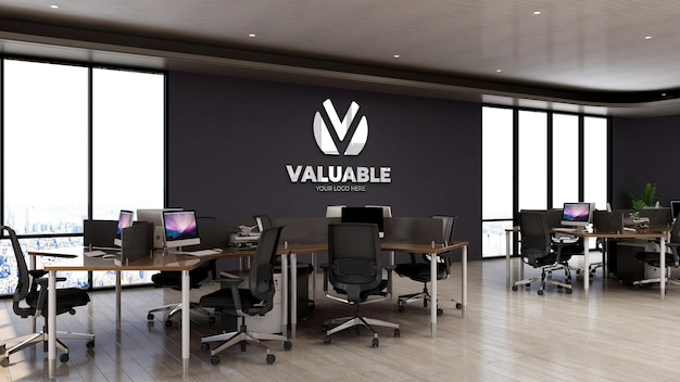 Modello di logo 3d sulla stanza dell'area di lavoro dell'ufficio a parete con computer desktop