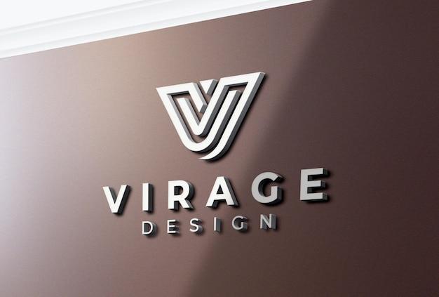 Logo 3d mockup logo bianco sulla parete dell'ufficio