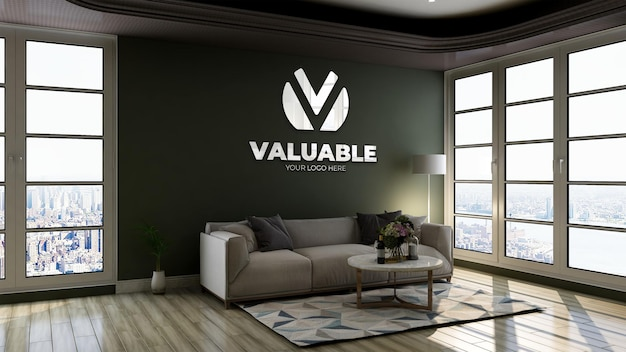 Modello di logo 3d con logo riflesso nella parete verde nella sala d'attesa della hall dell'ufficio per rilassarsi