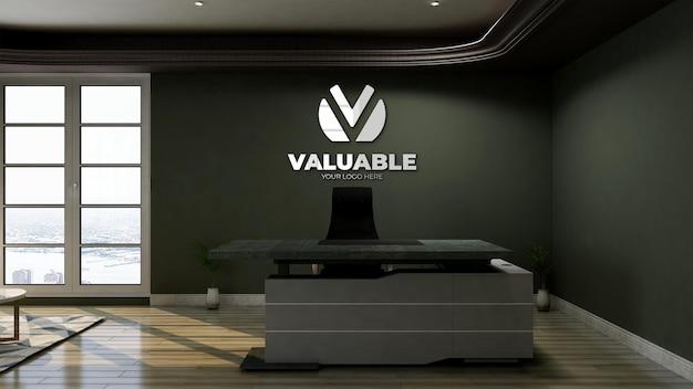 Modello di logo 3d con logo riflesso sul muro nella stanza dell'addetto alla reception dell'ufficio Psd Premium