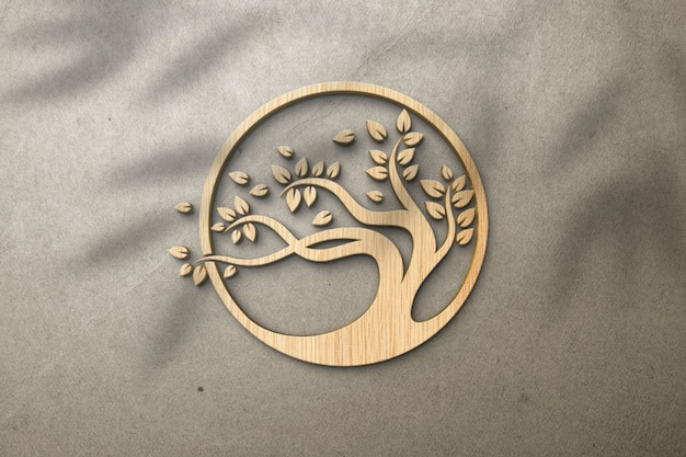 Effetto di legno del modello del logo 3d su una parete bianca