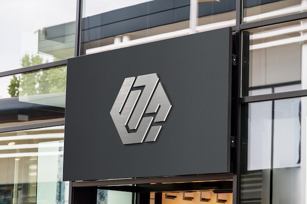 Logo 3d su un mockup di vetrina