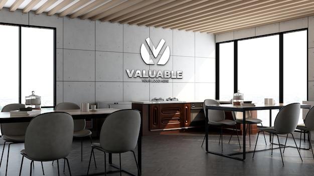 Modello di parete con logo 3d nella sala ristorante dell'ufficio o nell'area dispensa con interni di design industriale