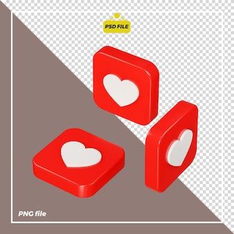 Icona dell'amore 3d su tutti i lati