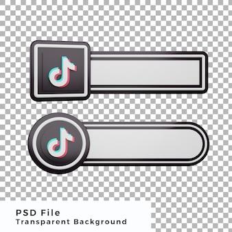 3d terzo inferiore tiktok logo social media icon bundle varie forme di alta qualità
