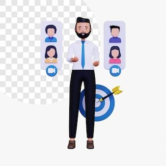 Il capo maschio 3d sta conducendo una riunione a distanza per discutere gli obiettivi