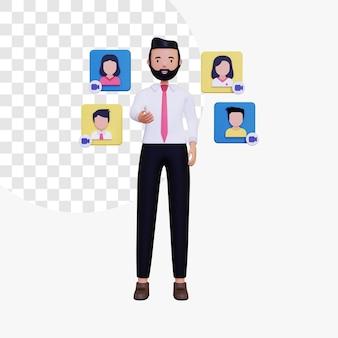 Il capo maschio 3d sta conducendo una riunione a distanza