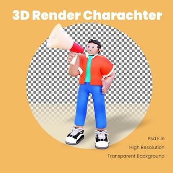 Il personaggio maschile 3d annuncia con il megafono