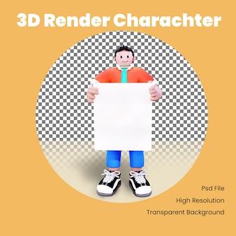 Il personaggio maschile 3d porta l'illustrazione della lavagna