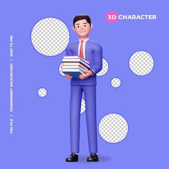 Personaggio maschile 3d che tiene una pila di libri con sfondo trasparente