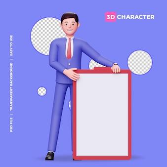 Personaggio maschile 3d con lavagna bianca con sfondo trasparente