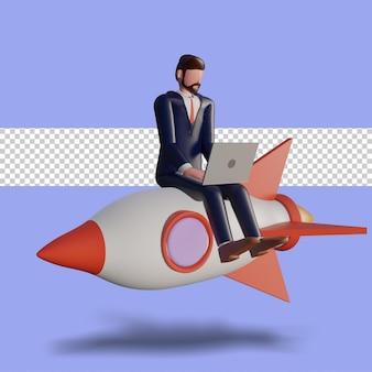 Il personaggio maschile 3d sta scrivendo sul computer portatile e si siede sul razzo.