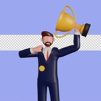 Il personaggio maschile 3d solleva il trofeo della vittoria e la medaglia d'oro.