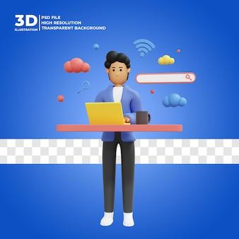 Personaggio maschile 3d in cerca di informazioni su internet con l'icona della casella di ricerca psd premium