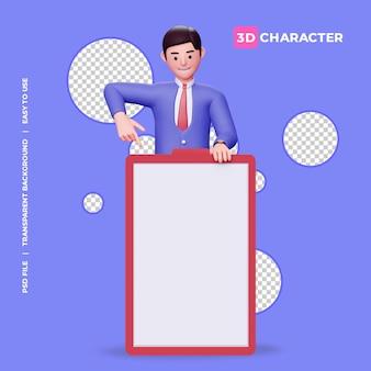 Personaggio maschile 3d che punta verso l'alto la lavagna con sfondo trasparente