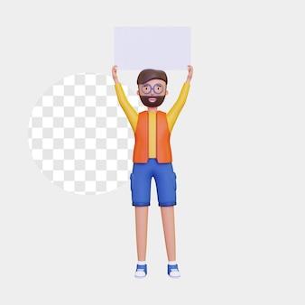 Personaggio maschile 3d in piedi con un cartello bianco con 2 mani