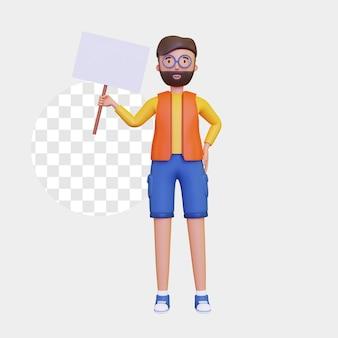 Personaggio maschile 3d in piedi con in mano un cartello bianco