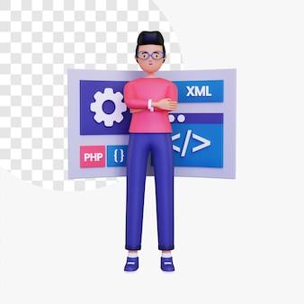 Il personaggio maschile 3d si trova di fronte allo schermo di programmazione