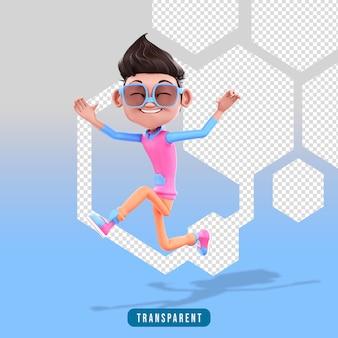 Personaggio maschile 3d che salta