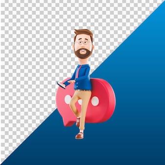 Progettazione dell'illustrazione del carattere dell'uomo 3d che lavora tenendo il supporto mobile dell'annuncio con l'icona del messaggero