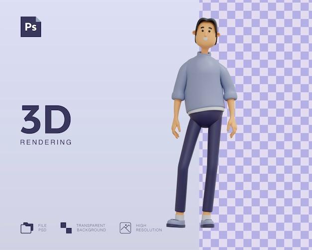 Disegno dell'illustrazione del carattere dell'uomo 3d