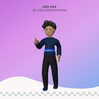 Pose di illustrazione dell'uomo 3d psd premium