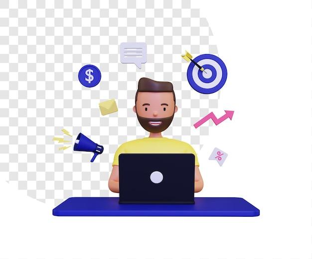 Marketing 3d utilizzando un laptop