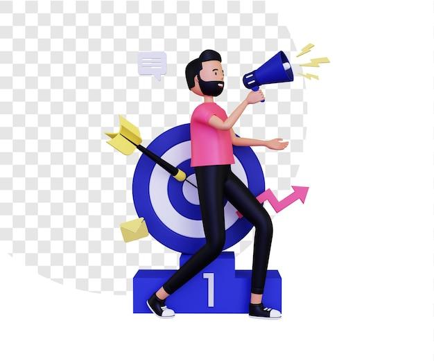 Marketing 3d con un megafono e un bersaglio per le freccette