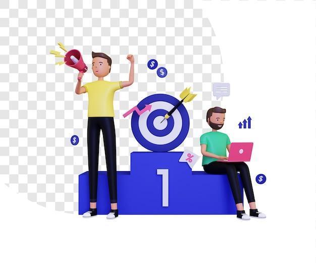 Marketing 3d con megafono e podio