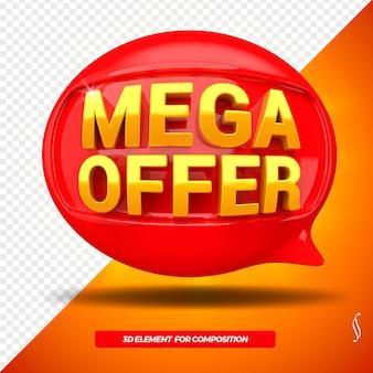 Icona anteriore del messaggio di ballon di offerta mega 3d