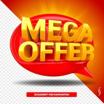 Icona sinistra del messaggio di ballon di offerta mega 3d