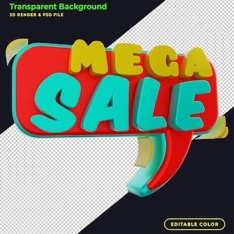 Promozione badge sconto mega vendita 3d