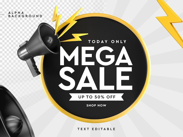 Logo di vendita mega 3d con megafono in rendering 3d