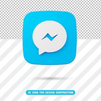Icona del messaggero 3d nel rendering 3d isolato