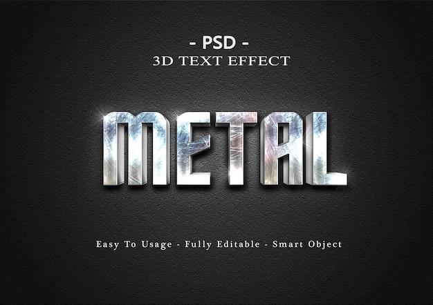 Effetto di stile di testo in metallo 3d