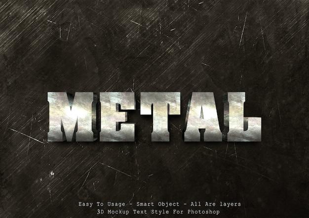 Effetto di stile del testo del metallo 3d