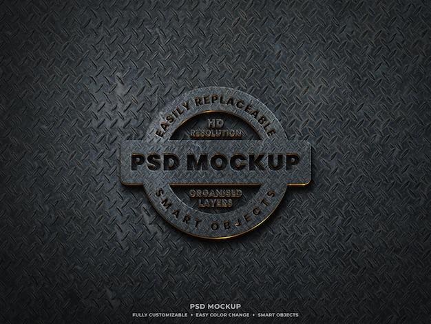 Logo metallico 3d mockup con superficie in acciaio grezzo