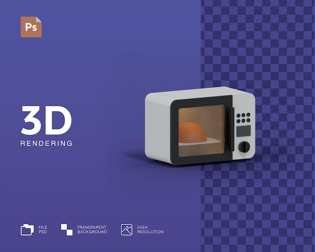 Illustrazione 3d a microonde Psd Premium