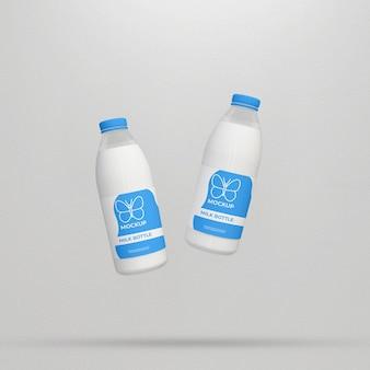 Mockup di imballaggio per bottiglie di latte 3d