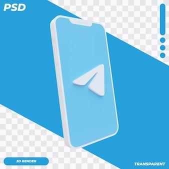 Telefono cellulare 3d con l'icona del telegramma