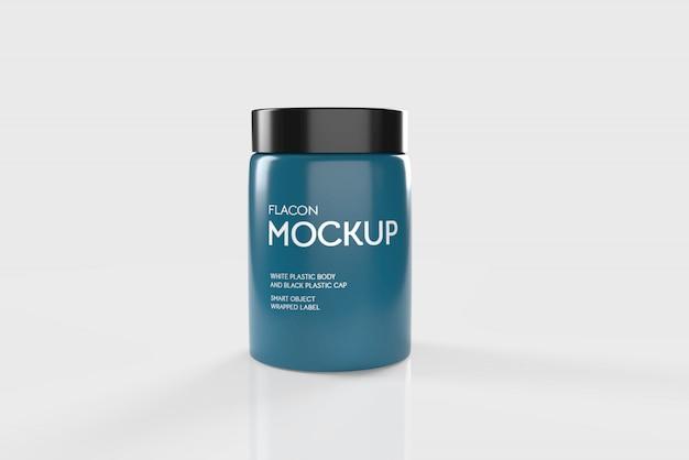 Mockup 3d di flacone di plastica blu