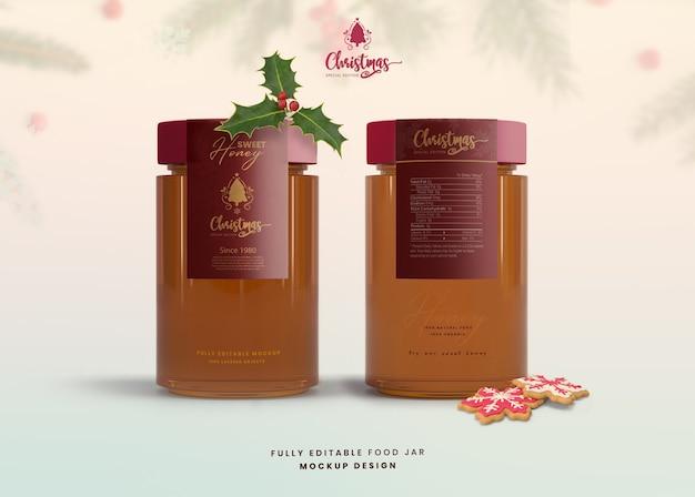 Mockup 3d per marmellata di vasetti di miele in vetro edizione speciale di natale