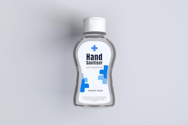 Mockup 3d di flacone di plastica trasparente gel disinfettante per le mani