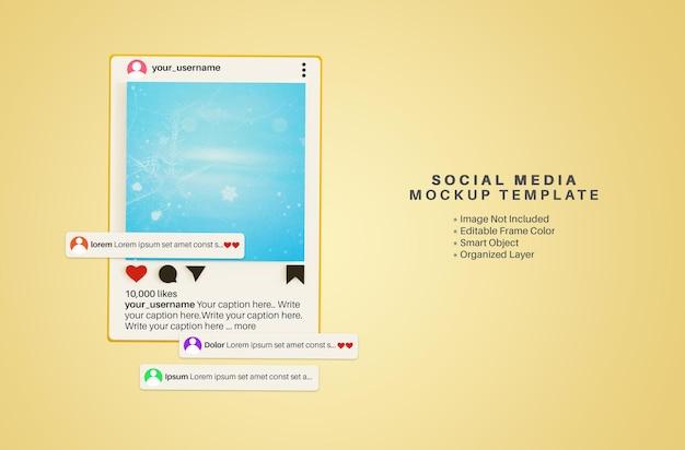 Mockup 3d di post sui social media delle app di instagram con casella dei commenti