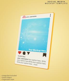 Mockup 3d di post sui social media delle app di instagram